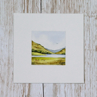 Watercolour Miniature - painting of Scottish countryside, hills, loch, lake