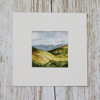 Original Watercolour Miniature - painting of Scotland, hills & mountains, nature