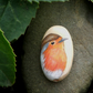 Hand painted wooden bead - Robin, 35 x 20mm