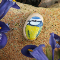 Hand painted wooden bead - Blue Tit, 35 x 20mm