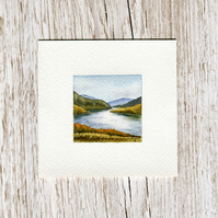 Original Watercolour Miniature - painting of Scotland, hills & loch