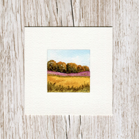 Original Watercolour Miniature - painting of Scotland after harvest