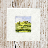 Original Watercolour Miniature - painting of Eildon Hills, Scottish Borders
