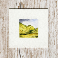 Watercolour Miniature - painting of Scotland, hills and mountains, nature