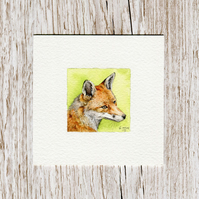 Original Watercolour Miniature - Fox painting