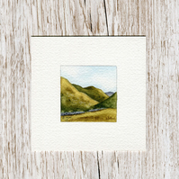 Original Watercolour Miniature - painting of Scotland, hills & mountains