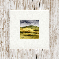 Original Watercolour Miniature - painting of Scottish Borders' hills