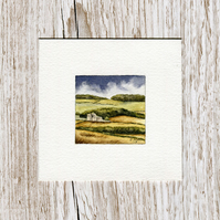 Original Watercolour Miniature - painting of Scotland in early harvest