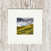Original Watercolour Miniature - painting of Scotland, stormy hills & mountains