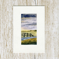 Original watercolour miniature painting of Scotland - Harvest Sunset