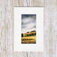 Original watercolour miniature painting of Scotland - Fields of Gold