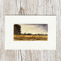 Original watercolour miniature painting of Scotland - Evening Hunt at harvest