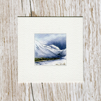 Original watercolour miniature painting of Scottish winter mountains in the snow