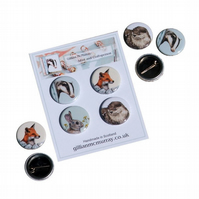 Wildlife button badges - set of 4, 1 inch, 25mm, badger, fox, rabbit and otter