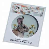 Rabbit pocket mirror - 58mm (2.25 inches) round