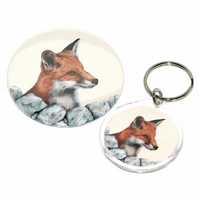 Round keyring and pocket mirror gift set - Red Fox