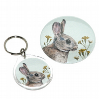 Round keyring and pocket mirror gift set - Rabbit