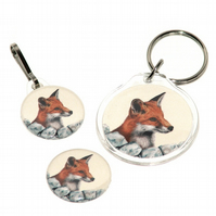 Keyring, badge and zip pull gift set - Red Fox