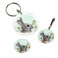Keyring, badge and zip pull gift set - Rabbit