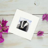 Original Watercolour Miniature - Sad Badger painting