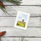 Original Watercolour Miniature painting - Smailholm Tower, Scottish Borders