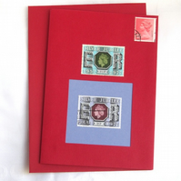 Silver Jubilee  - Stamp Series of Collage Cards. Blank inside.