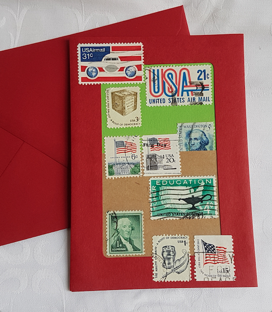The USA  - Stamp Series of Collage Cards. Blank inside.