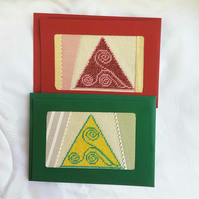 Pyramids - Gustav Klimt inspired embroidery card.