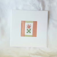 Two Squares - Blank card with abstract embroidery squares.