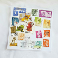 Four Continents  - Stamp Series of Collage Cards. Blank inside.
