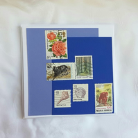 Wildlife - Stamp Series of Collage Cards. Blank inside.