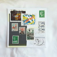 La France III  - Stamp Series of Collage Cards. Blank inside.