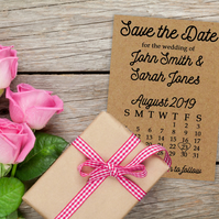 Recycled Brown Kraft Cute Calendar Save the Date Cards