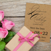 Recycled Brown Kraft Cute Swirled Save the Date Cards