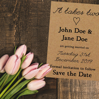 Recycled Brown Kraft Cute It Takes Two Save the Date Cards