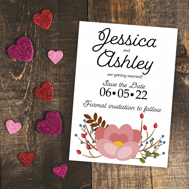 Pink Floral Flower Botanical Save the Date Cards