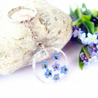 resin keyring with real forget me not flowers for nature lovers