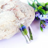 inspired by nature resin keyring with real forget me not flower
