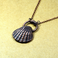 Flat Seashell copper necklace