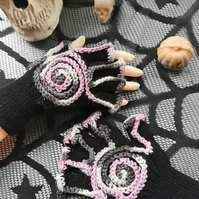 Black, Magic  Fingerless Gloves with Pink, White and Grey Spirals.