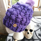 Purple Chunky Braidy Slouchy Hat with Faux Fur Pom Pom.  Crochet.