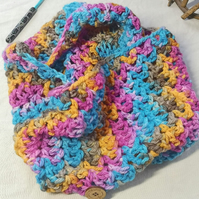 Multicoloured Snood,Cowl, Scarf Crocheted in hand dyed wool.