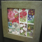 Flower garden collage, mixed media, art, vintage, antique, trading cards,