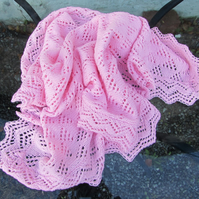 Baby cot pram Blanket, hand knitted, DK acrylic and nylon yarn, Free Delivery