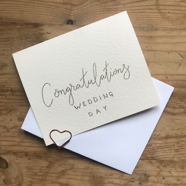 Wedding Card - Handmade - Gold Embossed Lettering - Congratulations