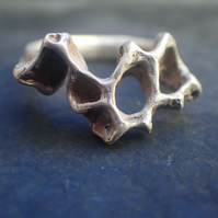 Silver Honeycomb Bee Jewellery-Ring. Organic form, cast from real Beeswax.