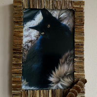 30 Shades of Oak Picture Frame made from grass stems and pieces of pine cones.