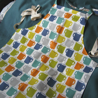 Cook's apron in coffee mug print cotton fabric with adjustable neck strap