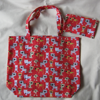 Folding shopping tote bag with matching zipped carrying pouch - red dogs & cats
