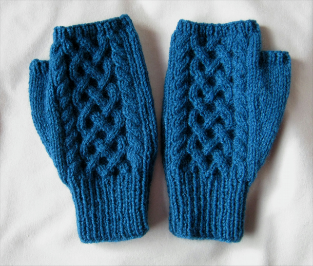Hand knitted men's deep petrel blue Celtic cable pattern fingerless mitts